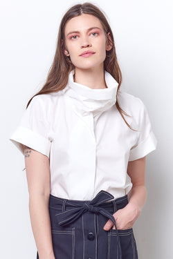 RHIANNON Funnel Neck Top - Poplin