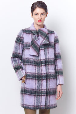 ELSA Tie Neck Shift Coat - Plaid