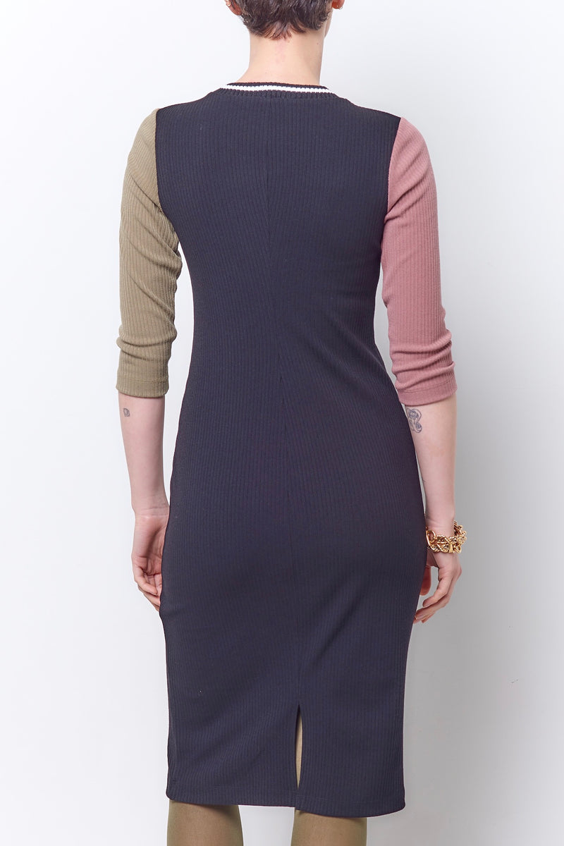 TAMARA 2 Tone Sleeve Column Dress - Ribb