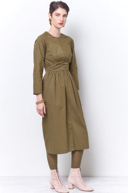 SANDRA Fit and Flair Wrap Dress - Poplin