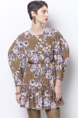 DEIRDRA Curved Sleeve Mini Dress - Floral