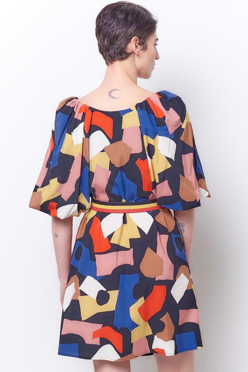 HARIETTE Puff Sleeve Swing Dress - Colorforms