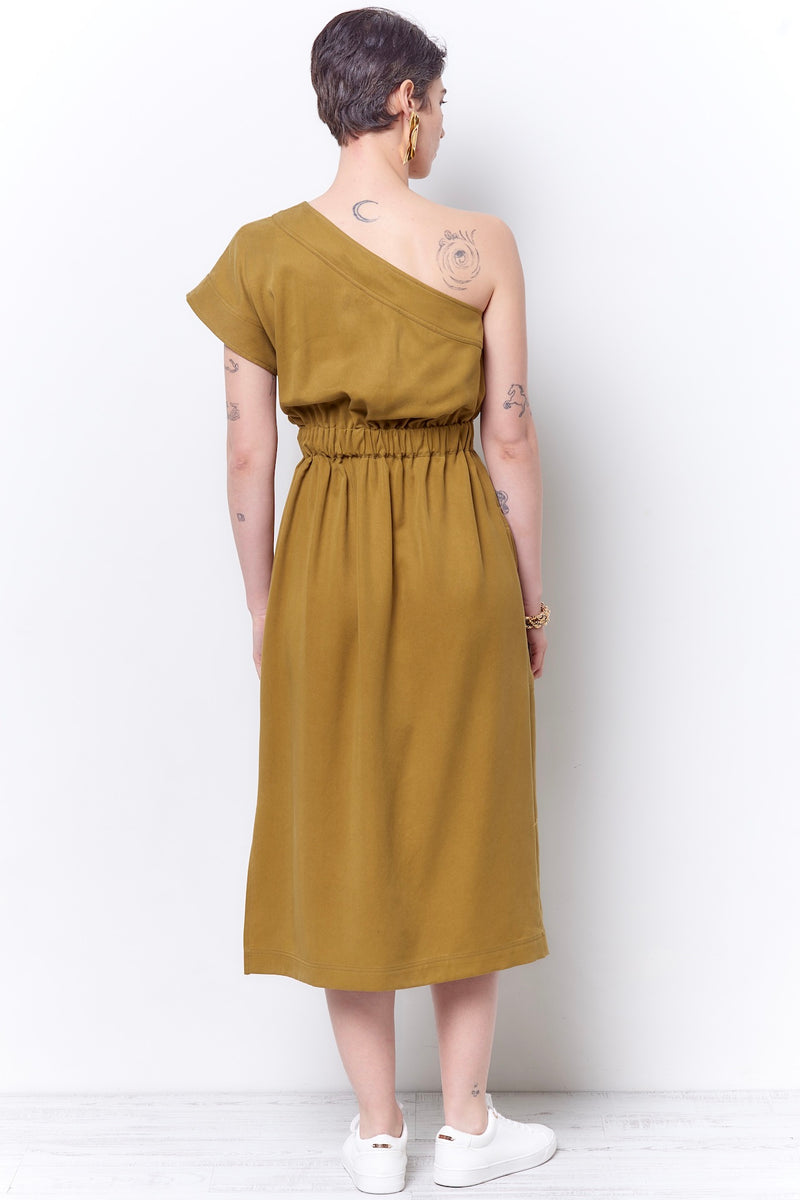 CAMILE Cross Shoulder Dress - Twill
