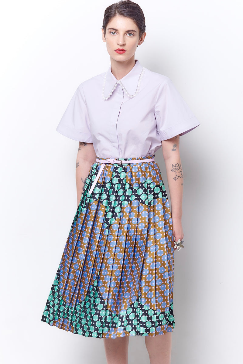 TESSA Pleated Pull-on Skirt - Dot