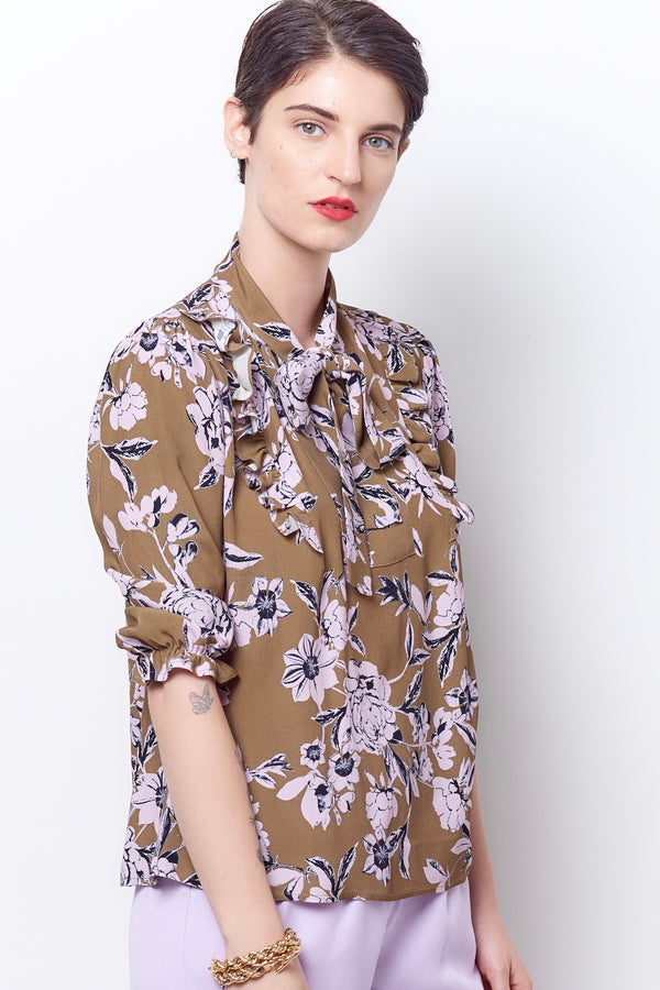 LATRICE Tie Neck Top - Floral