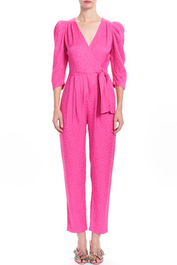 DAWN Puff Sleeve Wrap Jumpsuit - Berry