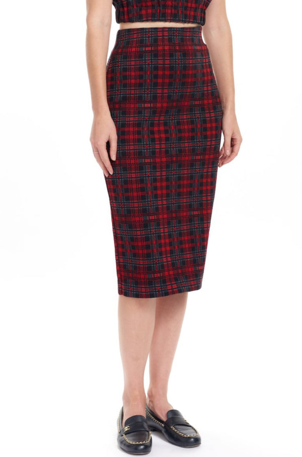 ZOLA Knit Pencil Skirt - Plaid