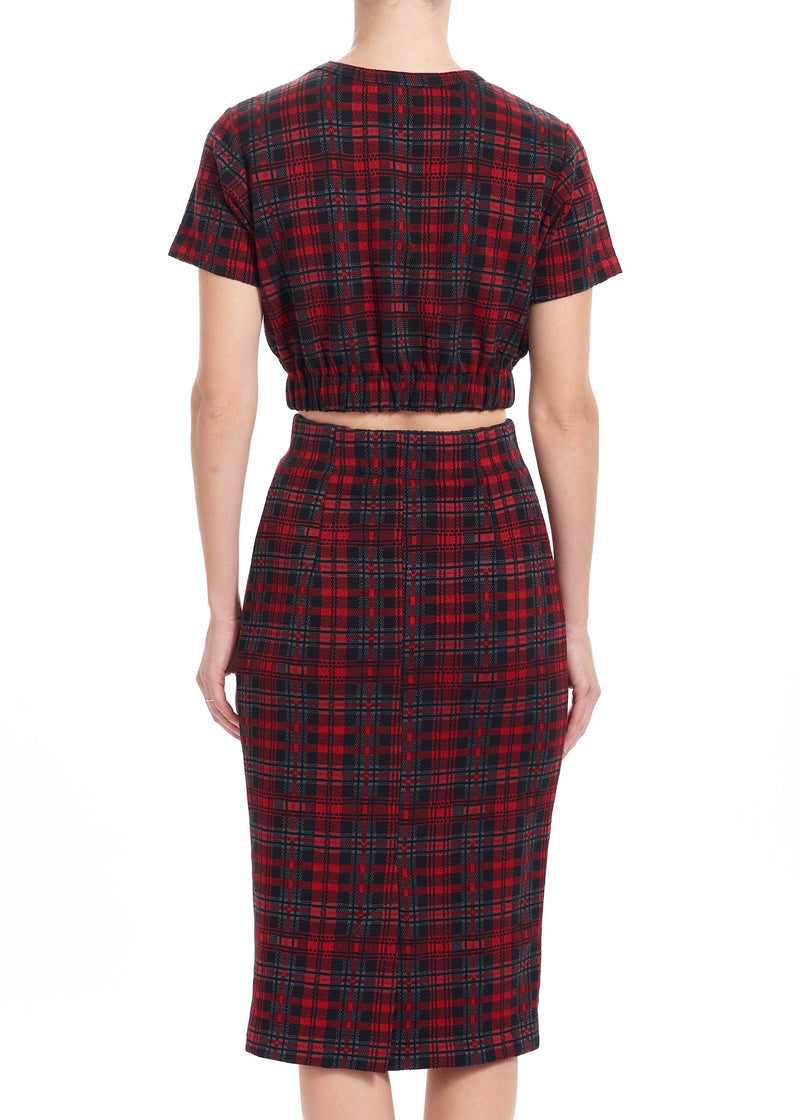 MAEVE Cropped Tee - Plaid