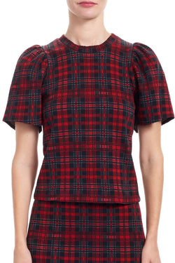 CARLEE Puff Sleeve Tee Top - Plaid