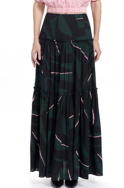 LILA Tiered Maxi Skirt - Pine