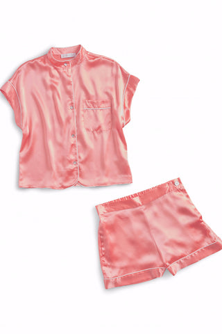 LAURA Cotton short set Block Printed pink clouds