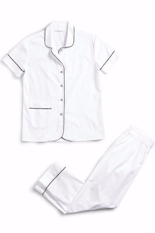 ARIANNA Cotton classic short sleeve cropped set TRUE WHITE