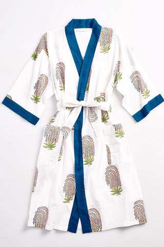 TORY Cotton robe in Block Printed Berries