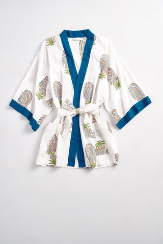 LESLIE Cotton short robe in cotton Navy Berries