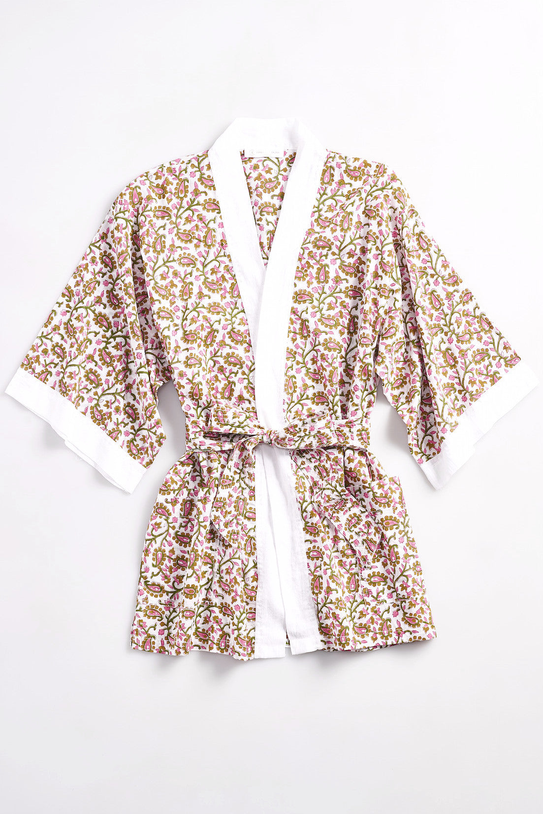 LESLIE Cotton short robe in cotton Block Printed Paisley