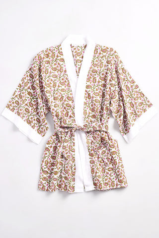 TORY Cotton robe in Block Printed floral