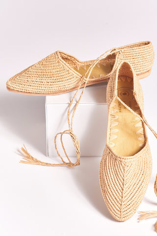 d1739f63b45 PATTY Hand Made Raffia Wrap Shoes