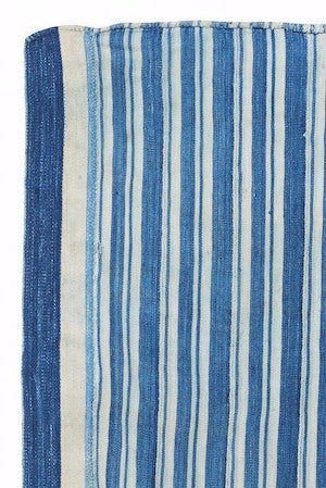 Vintage Indigo Striped Dyed Textile