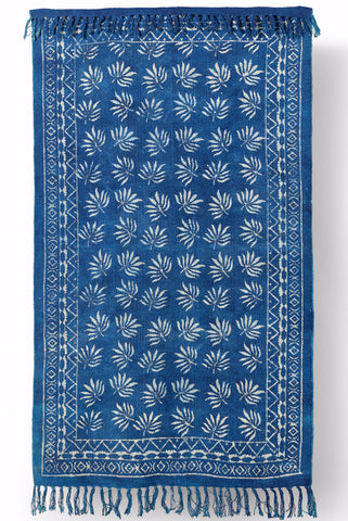 Hand Made Indigo Leaf Block Printed Rug