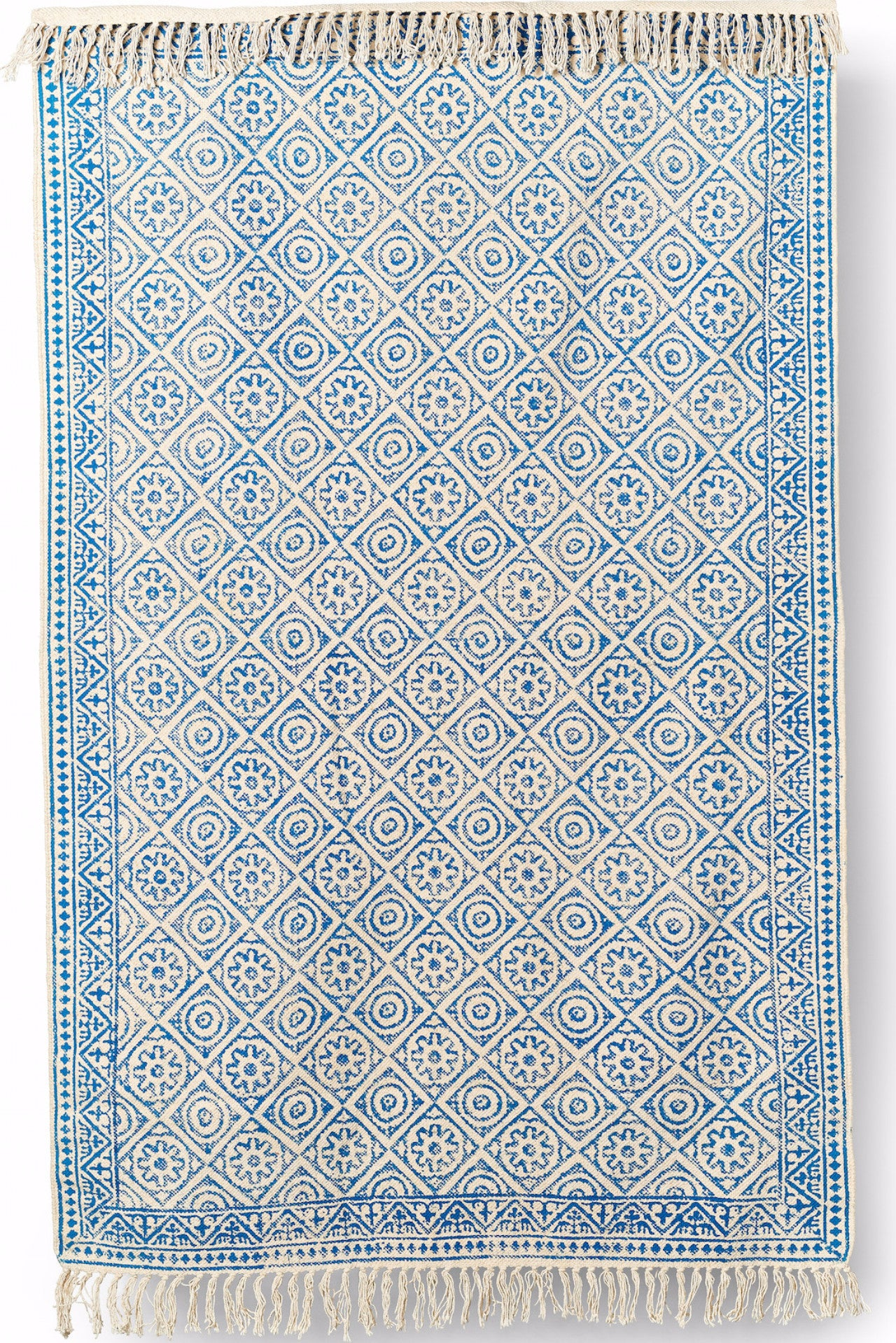 Cotton Hand Block Printed Rug - Blue 4X6