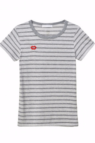 """LIPS"" Embroidered Striped Crew Neck Tee"