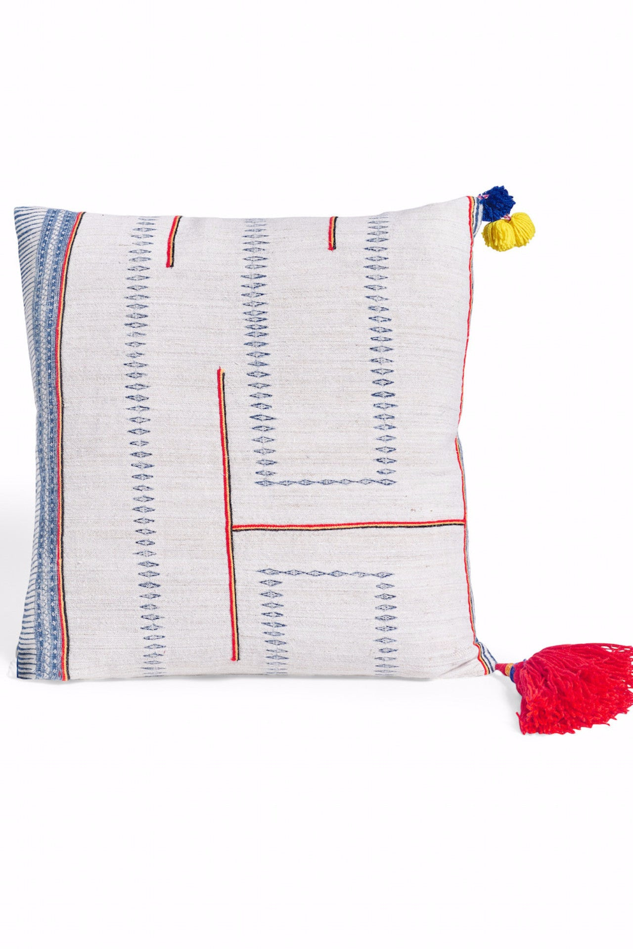 "Vintage Textile 18"" square Pillow with Tassels"