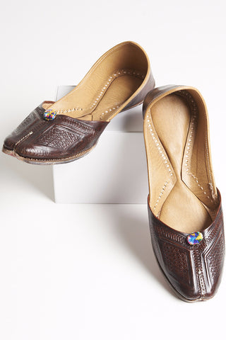 Brown Camel Leather Slippers with Pompoms