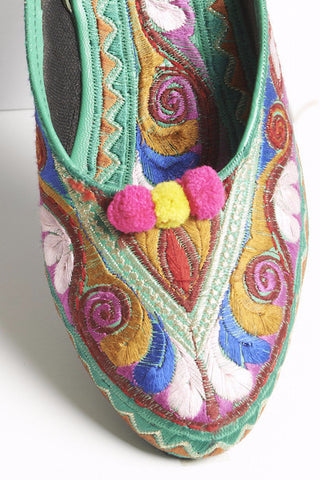 Green Multi Colored Embroidered Mules with Pompoms 1