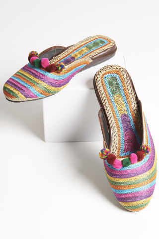 Rainbow Multi Colored Striped Mules with Pompoms 2