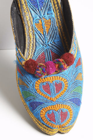da8dae02c04 Blue Multi Colored Embroidered Mules with Pompoms 3