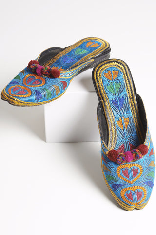Blue Multi Colored Embroidered Mules with Pompoms 3