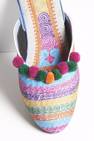Pastel Multi Colored Striped Mules with Pompoms 4