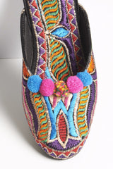 Purple Embroidered Mules with Pom Poms 5