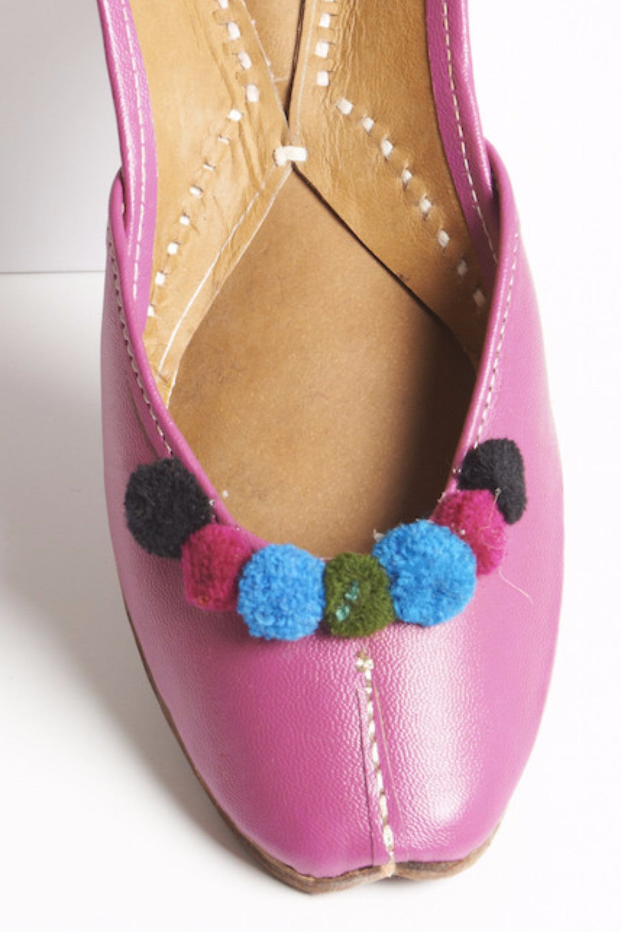 Pink Camel Leather Slippers with Pompoms