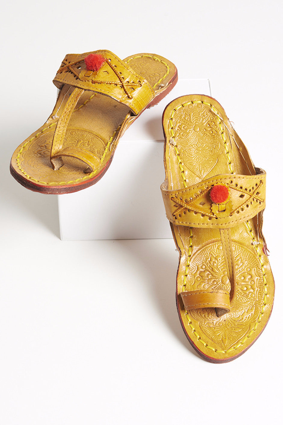 Tan Sandals with Red Pom Pom
