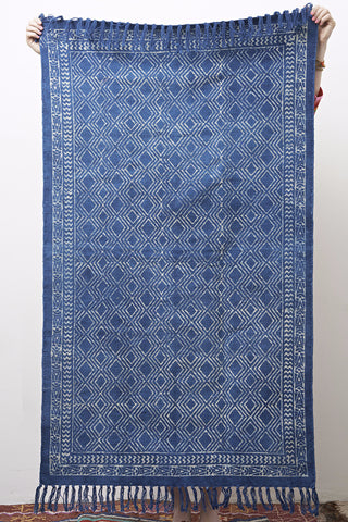 Hand Made Indigo Block Printed Rug