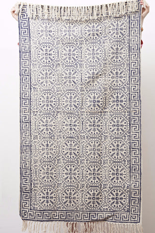 Cotton Hand Block Printed Rug - Navy