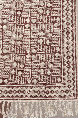Cotton Hand Block Printed Rug - Maroon