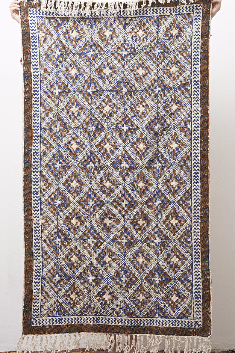 Cotton Hand Block Printed Rug - Blue & Mustard