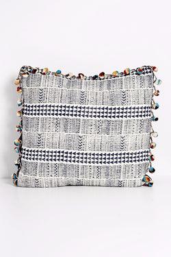 Arrow Block Printed Pillow with PomPoms