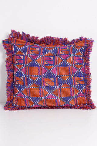 Quilted Silk Pillow - Orange + Taupe