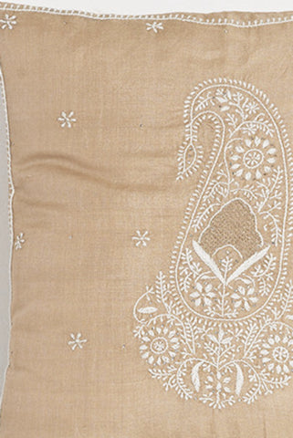 Paisley Embroidered Tan Silk Pillow