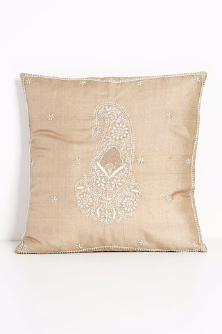 Embroidered Paisley Orange Raw Silk Pillow
