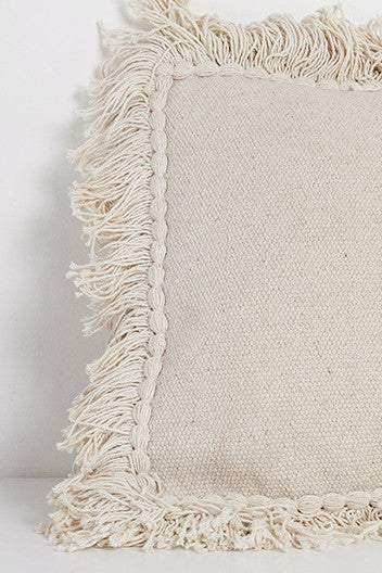 Handwoven Fringed Rectangle Pillow Natural