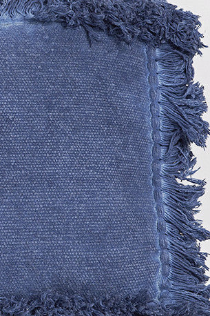 Handwoven Fringed Rectangle Pillow Indigo