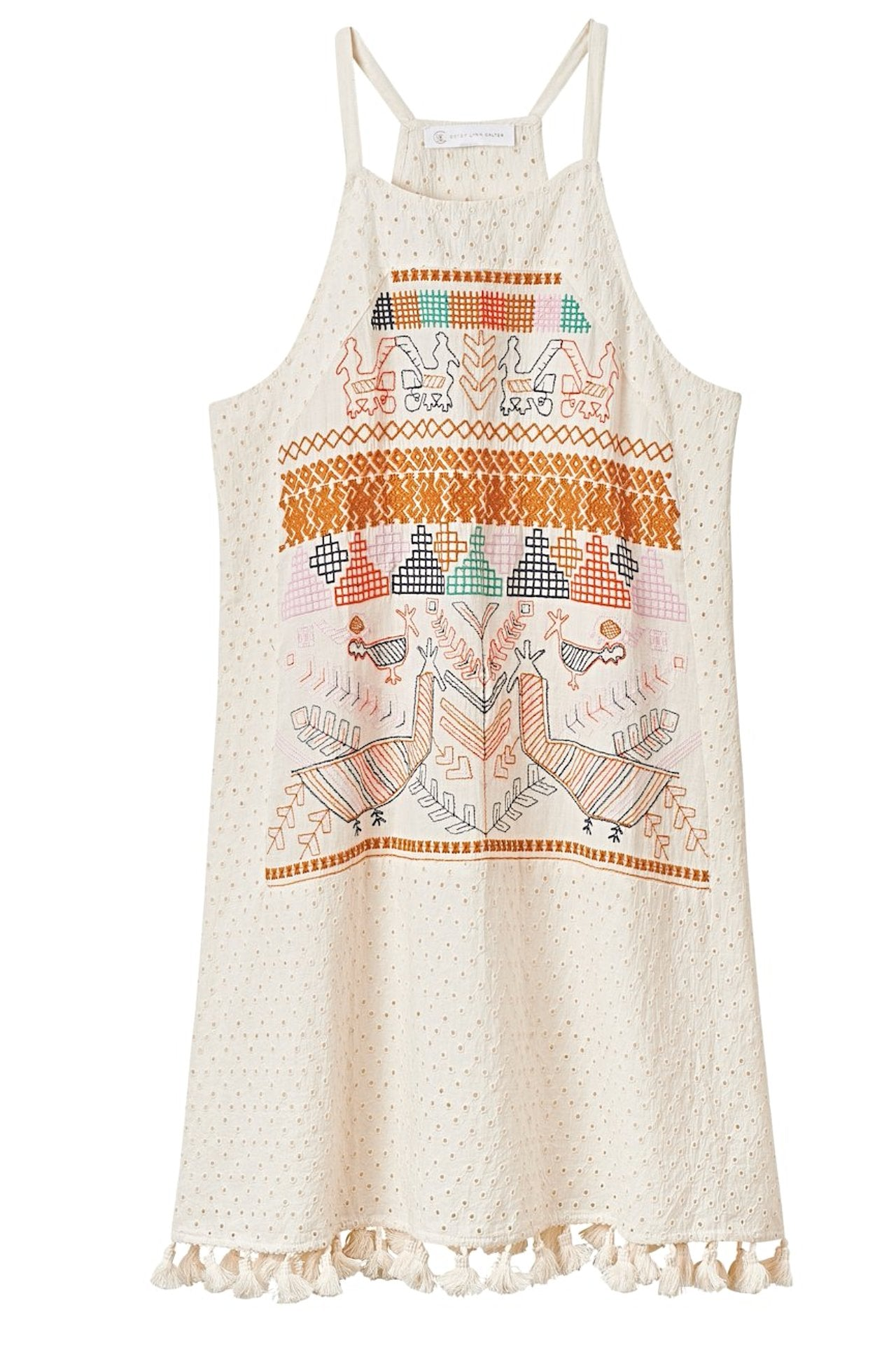 ZOLITA Embroidered Dress with Tassels