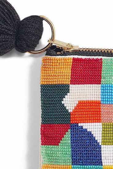 GEO Hand Beaded Pouch Bag