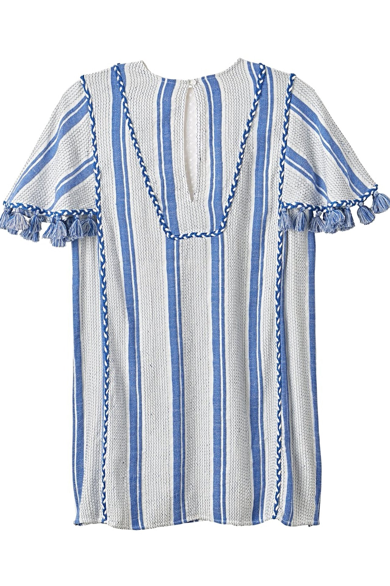 KRISTEN Lace Insert Stripe Flutter Dress with Tassels