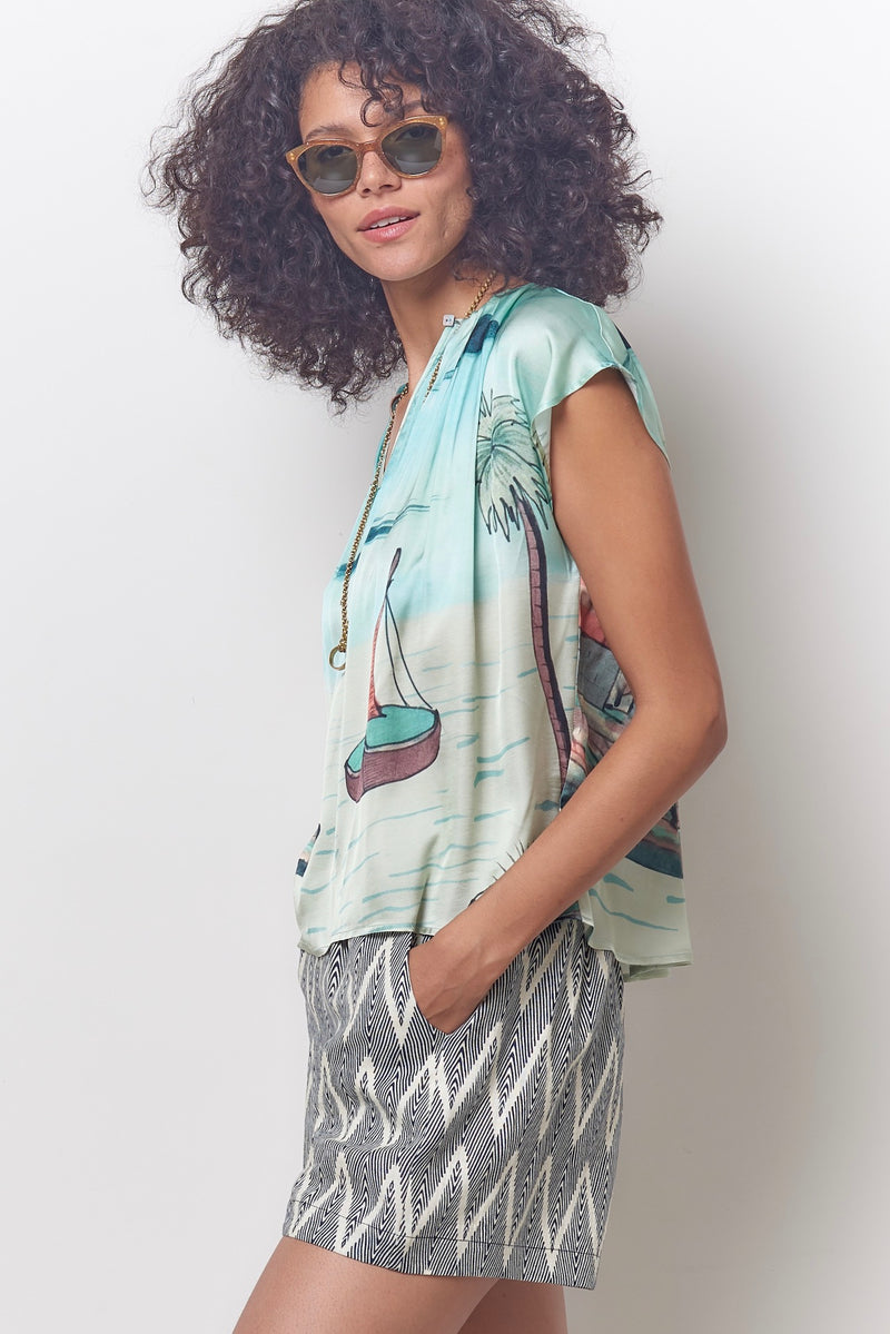 MAGGIE Pleat Neck Top - Seaside Print