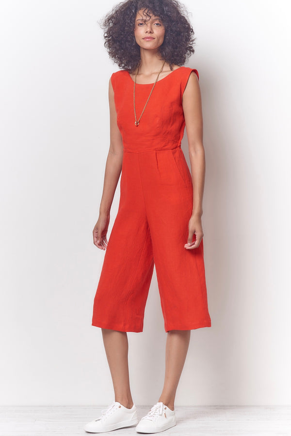 CRYSTAL Tie Back Jumpsuit - Linen